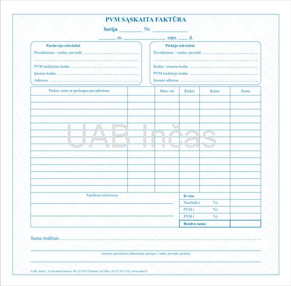 Sąskaita Faktūra Vat Invoice Pvm